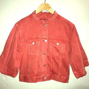 GAP- Cropped Coral Denim jacket with bells sleeves